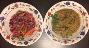 Red Lentil Dal & Red Cabbage, Carrot and Cilantro Slaw