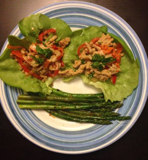 "Thai Pork Lettuce Wraps with ""Peanut Sauce"" and Orange Not Soy Asparagus"