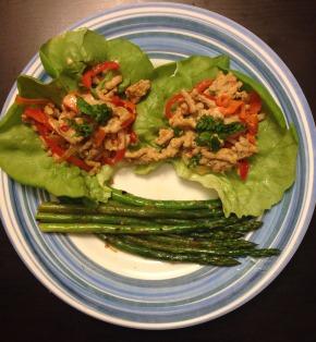 "Thai Pork Lettuce Wraps with ""Peanut Sauce"" and Orange Not SoyAsparagus"