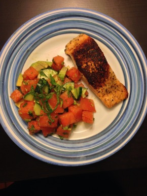 Pan Seared Salmon with Watermelon Salad