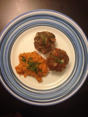 Vegetable Overload Meatloaf Muffins & YamMash