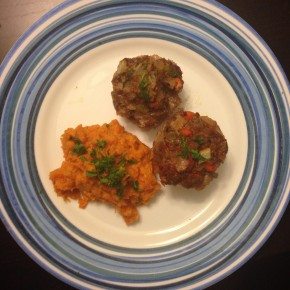 Vegetable Overload Meatloaf Muffins & Yam Mash
