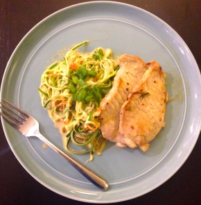"Paleo ""Peanut"" Zucchini Noodles with Ginger Tangerine Pork Cutlets"