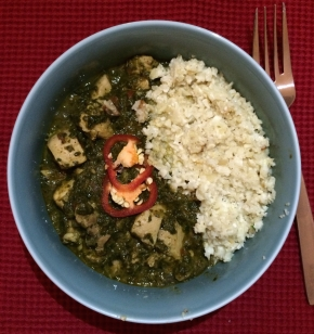 Chicken Saag with Coconut Cardamom Cauliflower Rice